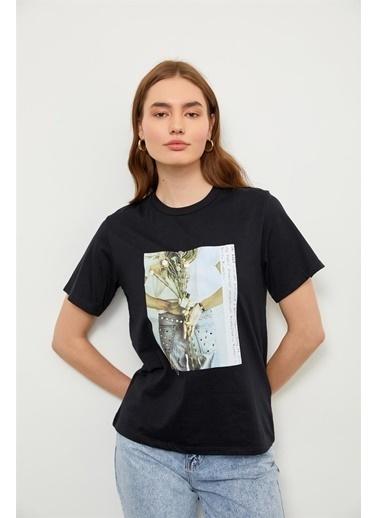 Setre Somon Kısa Kol Baskılı T-Shirt Siyah